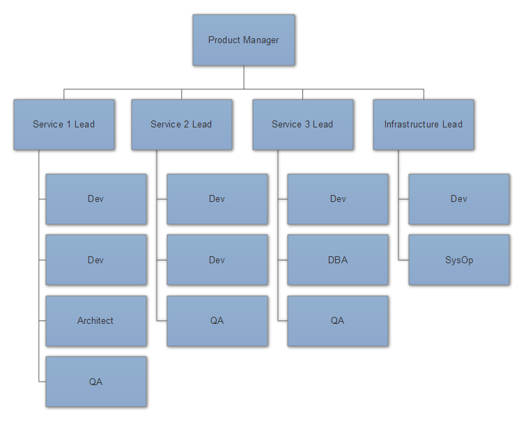 An organization partitioned along its microservice boundaries